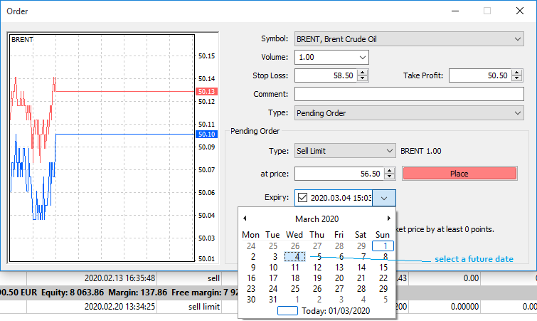 Placing a Sell Limit Order with an expiration date